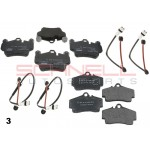 Package 3 Front/Rear Textar Brake Pads w/ Front/Rear Brake Pad Sensors