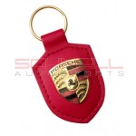 Key Fob – Red Leather W/Enameled Crest